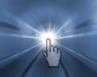 De achtergrond van de tunnel met licht met handcurseur Stock Afbeelding