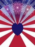 De achtergrond van de V.S. van de onafhankelijkheidsdag met hart Stock Foto