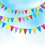 De achtergrond van de vakantie met verjaardags kleurrijke vlaggen Stock Afbeelding