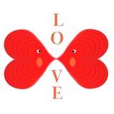 De achtergrond van de valentijnskaart: de liefde is twee hartkus Royalty-vrije Stock Afbeelding