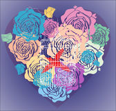 De achtergrond van de valentijnskaart met bloemenhart en kooi Stock Afbeeldingen