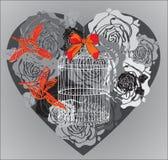 De achtergrond van de valentijnskaart met bloemenhart en kooi royalty-vrije illustratie