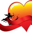 De achtergrond van de valentijnskaart met cupid en hart Royalty-vrije Stock Fotografie