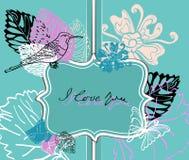 De achtergrond van de valentijnskaart met etiket Stock Foto
