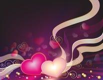 De achtergrond van de valentijnskaart met harten Stock Foto