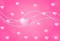 De achtergrond van de valentijnskaart met harten Stock Afbeeldingen