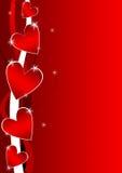 De achtergrond van de valentijnskaart met harten Stock Foto's
