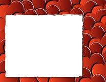 De achtergrond van de valentijnskaart met harten en frame Stock Foto