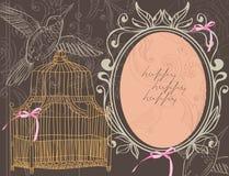 De achtergrond van de valentijnskaart met kooi Stock Afbeelding