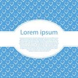De achtergrond van de valentijnskaart Wit hartsymbool op blauwe achtergrond met ovaal kader voor tekst Stock Afbeeldingen