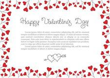 De achtergrond van de valentijnskaartendag Het rode Kader van de Hartengrens Vector horizontaal kader Royalty-vrije Stock Afbeeldingen