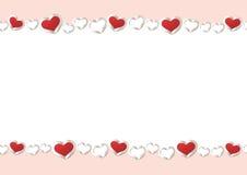 De achtergrond van de valentijnskaartendag Het rode Kader van de Hartengrens Vectorkader met Ruimte voor uw Tekst stock illustratie