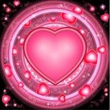 De achtergrond van de valentijnskaartendag met harten en ronde roze frams Royalty-vrije Stock Foto's