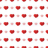 De achtergrond van de valentijnskaartendag Vector naadloos patroon met rode harten stock illustratie