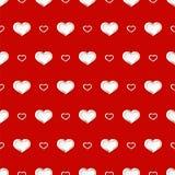 De achtergrond van de valentijnskaartendag Vector naadloos patroon met witte Harten op rode achtergrond stock illustratie