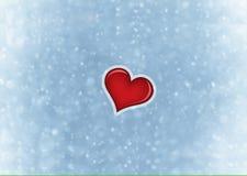 De achtergrond van de valentijnskaartenkaart met rood hart Stock Fotografie