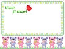 De achtergrond van de verjaardag met beren Stock Afbeeldingen