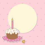 De achtergrond van de verjaardag met meisje en cake Stock Afbeeldingen