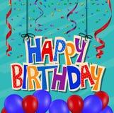 De achtergrond van de verjaardagsviering met confettien en ballon Stock Afbeelding