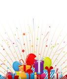 De achtergrond van de verjaardagsviering met partijelementen Royalty-vrije Stock Foto's