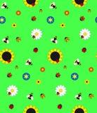 De achtergrond van de vijf soorten bloemen, stuntelt bijen, bijen en l vector illustratie