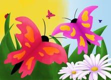 De achtergrond van de vlinder Stock Foto