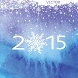 De achtergrond van de waterverf Koele kleuren, sneeuwvlokken, 2015 Stock Foto