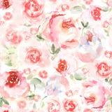 De achtergrond van de waterverfbloem voor uitnodigingskaart Bloemen met de hand geschilderd naadloos patroon voor groetkaarten Stock Fotografie