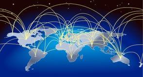 De achtergrond van de wereldhandelkaart royalty-vrije illustratie