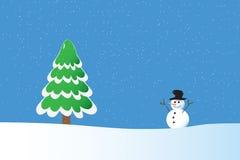 De achtergrond van de whiswinter van de sneeuwman Stock Fotografie