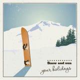De achtergrond van de winter Bergen en oude snowboard in de sneeuw stock illustratie