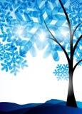 De achtergrond van de winter, een boom in de sneeuw Stock Foto's