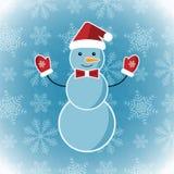 De achtergrond van de winter met een sneeuwman Royalty-vrije Stock Foto's
