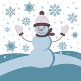 De achtergrond van de winter met een sneeuwman Stock Afbeelding