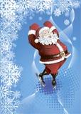 De achtergrond van de winter met het schaatsen Kerstman Stock Afbeelding