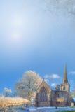 De Achtergrond van de winter met kerk Stock Afbeelding
