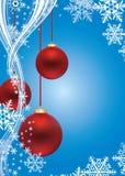 De achtergrond van de winter met rode ballen Royalty-vrije Stock Afbeeldingen