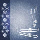 De achtergrond van de winter met ski en polen. EPS10 vector illustratie