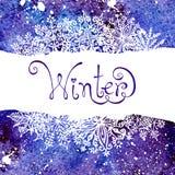 De achtergrond van de winter met sneeuwvlokken Het schilderen Stock Foto