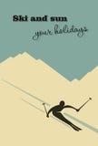 De achtergrond van de winter Skiërdia's van de berg royalty-vrije illustratie