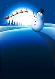 De Achtergrond van de Winter van de sneeuwman Stock Foto