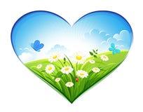 De achtergrond van de zomer in de vorm van hart royalty-vrije illustratie