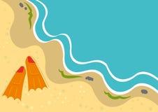De achtergrond van de zomer met vinnen op een strand royalty-vrije illustratie