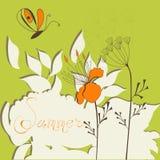 De achtergrond van de zomer met vlinder Stock Afbeelding
