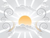 De achtergrond van de zon en van de Wolk royalty-vrije illustratie