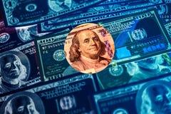 De achtergrond van dollarsrekeningen Sluit omhoog contant geldgeld royalty-vrije stock fotografie
