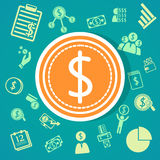 De achtergrond van financiënpictogrammen Stock Afbeeldingen