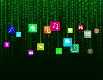 De Achtergrond van gegevenspictogrammen Royalty-vrije Stock Afbeeldingen