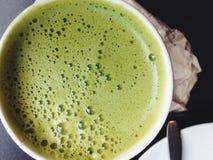De achtergrond van Greenteamatcha latte Royalty-vrije Stock Fotografie