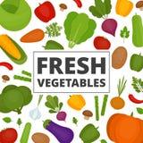 De achtergrond van groenten Verse groentenpatroon Organisch en Gezond voedsel Vlakke stijl, vectorillustratie royalty-vrije illustratie